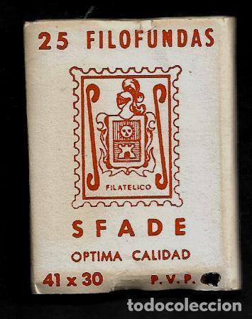 25 FILOFUNDAS O FILOESTUCHES - SFADE - 41 X 30 - TRANPARENTE (Sellos - Material Filatélico - Estuches)
