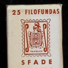 Sellos: 25 FILOFUNDAS O FILOESTUCHES - SFADE - 30 X 41- TRANPARENTE. Lote 211500955
