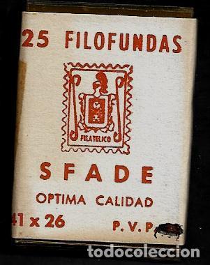 25 FILOFUNDAS O FILOESTUCHES - SFADE - 41 X 26 - TRANPARENTE (Sellos - Material Filatélico - Estuches)