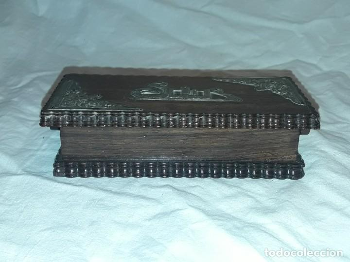 Sellos: Bella caja o estuche de madera maciza tallada para sellos con adornos de plata 925 punzonada - Foto 5 - 286382513