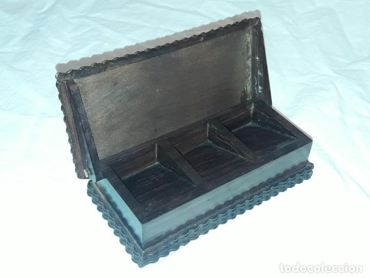 Sellos: Bella caja o estuche de madera maciza tallada para sellos con adornos de plata 925 punzonada - Foto 7 - 286382513