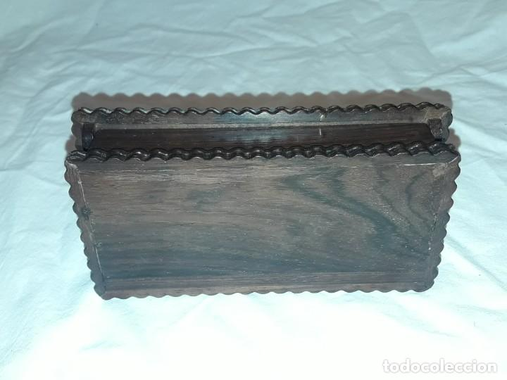 Sellos: Bella caja o estuche de madera maciza tallada para sellos con adornos de plata 925 punzonada - Foto 14 - 286382513
