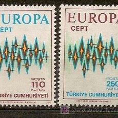 Sellos: TURQUIA,EUROPA CEPT,AÑO 1972,SERIE COMPLETA,NUEVA CON GOMA.. Lote 5584572