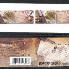 Sellos: GRECIA - EUROPA 2008 - TEMA LA CARTA ESCRITA - CARNET CON BANDA DE 2 SERIES ESPECIALES. Lote 26946761
