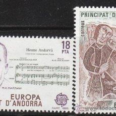 Sellos: ANDORRA EDIFIL Nº 184/5, EUROPA 1985 (HIMNO DE ANDORRA Y JUGLAR DEL SIGLO XII), NUEVO. Lote 20307812