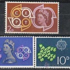 Sellos: INGLATERRA, IVERT 362/4, EUROPA 1961, NUEVO. Lote 24315281