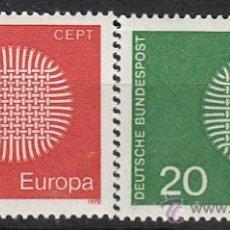 Sellos: ALEMANIA IVERT Nº 483/4, EUROPA 1970, NUEVO (SERIE COMPLETA). Lote 25222990