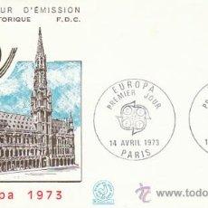 Sellos: FRANCIA, EUROPA 1973 (GRAN PALACIO DE BRUSELAS), PRIMER DIA DE 14-4-1973. Lote 26110732