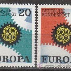 Sellos: ALEMANIA IVERT 398/400, EUROPA 1967, NUEVO (SERIE COMPLETA). Lote 26528115
