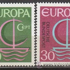 Sellos: ALEMANIA IVERT 376/7, EUROPA 1966, NUEVO (SERIE COMPLETA). Lote 26866208