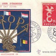 Sellos: FRANCIA IVERT 1173/4, EUROPA 1958, PRIMER DIA DE 13-9-1958. Lote 27647425
