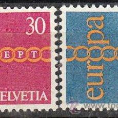 Sellos: SUIZA IVERT 882/3, EUROPA 1971, NUEVO (SERIE COMPLETA). Lote 27760092