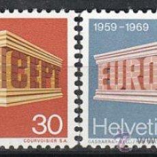 Sellos: SUIZA IVERT 832/3, EUROPA 1969, NUEVO (SERIE COMPLETA). Lote 27869295