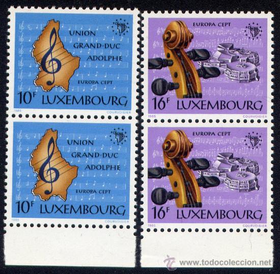 SELLO DE LUXEMBURGO -1985 AÑO EUROPEO DE LA MUSICA (NUEVO - SIN CHARNELA) BLOQUE DE 2 (Sellos - Temáticas - Europa Cept)