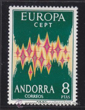 SELLO DE ANDORRA 1972 EDIFIL ANDORRA 72 EUROPA CEPT NUEVO SIN FIJASELLOS CALIDAD DE LUJO (Sellos - Temáticas - Europa Cept)