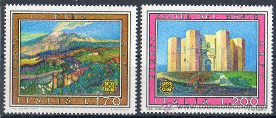 ITALIA AÑO 1977 YV 1299/00*** EUROPA CEPT - VISTAS Y PAISAJES - TURISMO - CASTILLOS - MONTAÑAS (Sellos - Temáticas - Europa Cept)