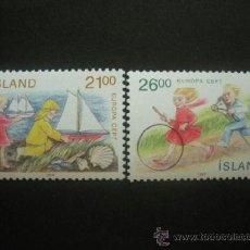 Sellos: ISLANDIA 1989 IVERT 654/5 *** EUROPA - JUEGOS INFANTILES. Lote 37559276