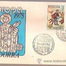 Sellos: SPD ANDORRA EUROPA 1975 EDIFIL 97 98 PINTURA ROMANICA ORDINO SOBRE PRIMER DIA CIRCULACION. Lote 41425657