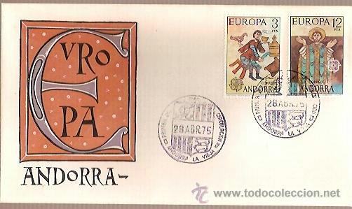 SPD ANDORRA EUROPA 1975 EDIFIL 97 98 PINTURA ROMANICA ORDINO SOBRE PRIMER DIA CIRCULACION (Sellos - Temáticas - Europa Cept)