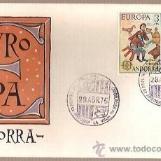 Sellos: SPD ANDORRA EUROPA 1975 EDIFIL 97 98 PINTURA ROMANICA ORDINO SOBRE PRIMER DIA CIRCULACION . Lote 41425681