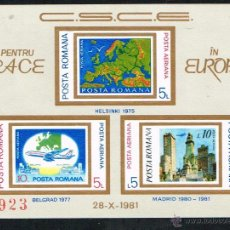 Sellos: PRO EUROPA. 1981 RUMANIA KSZE SIN DENTAR MNH**. Lote 48200515