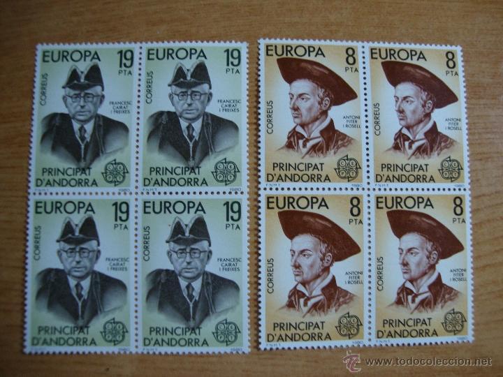 TEMA EUROPA ANDORRA ESPAÑOLA AÑO 1980 BLOQUE DE 4 NUEVOS SIN CHARNELAS YVERT 124/125 (Sellos - Temáticas - Europa Cept)