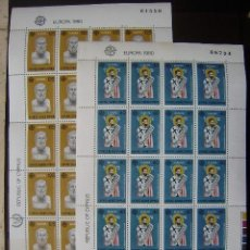 Sellos: EUROPA CEPT - CHIPRE 1980 - IVERT 515/16 - MINI PLIEGO 20 SERIES SELLOS NUEVOS (**) SIN FIJASELLOS. Lote 49217352