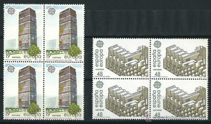 ESPAÑA/SPAIN 1987 EDIFIL 2904/05** Y&T 2517/18** BLOQUES DE 4 EUROPA (Sellos - Temáticas - Europa Cept)