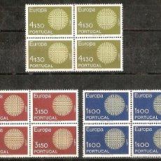 Sellos: EUROPA CEPT - PORTUGAL – 1970 – SERIE COMPLETA – 3 BLOQUES DE CUATRO - NR. YVERT: 1073/1075 . Lote 55387345