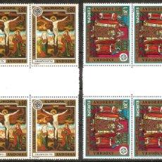Sellos: ANDORRA FRANCESA – 1975 – EUROPA – SERIE COMPLETA – 2 BLOQUES DE CUATRO - NR. YVERT: 243/244. Lote 55660277