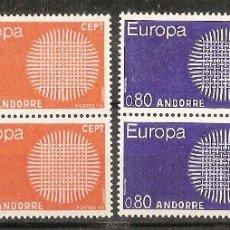 Sellos: ANDORRA FRANCESA – 1970 – EUROPA – SERIE COMPLETA – 2 BLOQUES DE CUATRO - NR. YVERT: 202/03. Lote 55663308