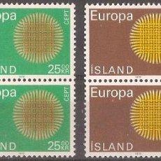 Sellos: ISLANDIA – 1970 – EUROPA – SERIE COMPLETA – 2 BLOQUES DE CUATRO - NR. YVERT: 395/6 . Lote 55670105