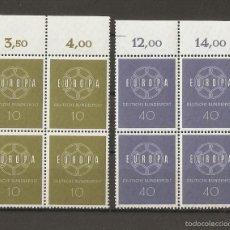 Sellos: ALEMANIA FEDERAL. 1959. YT 193/194 - MI 320/321. BLOCK 4 NUEVOS.. Lote 56329307
