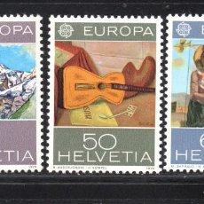 Sellos: SUIZA 980/82** - AÑO 1975 - EUROPA - PINTURA. Lote 179339107