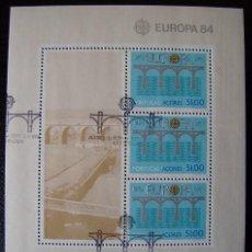 AZORES - TEMA. EUROPA ( CEPT ) 1984 - HOJA BLOQUE USADA. (R226)