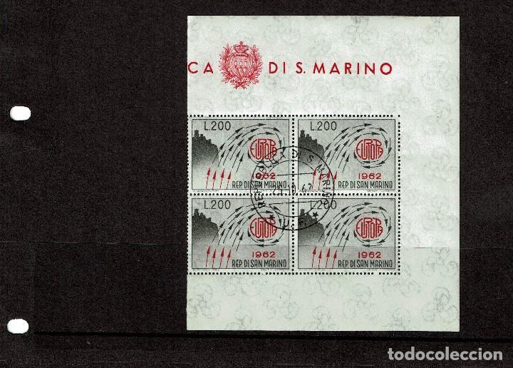 SAN MARINO 572 BLOQUE DE 4 MATASELLADO PRIMER DIA - AÑO 1962 - EUROPA (Sellos - Temáticas - Europa Cept)