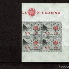 Sellos: SAN MARINO 572 BLOQUE DE 4 MATASELLADO PRIMER DIA - AÑO 1962 - EUROPA. Lote 105847715