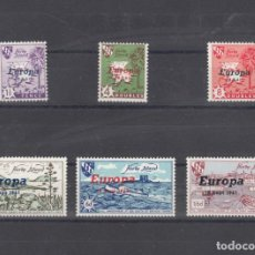 Sellos: ,,,FANTASIA ISLA HERM (GUERNESEY) 6 SELLOS LOCAL SIN CHARNELA, SOBRECARGA EUROPA 1961, BARCO, PUERTO. Lote 117663935