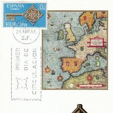 Sellos: EDIFIL 1868, EUROPA 1968, MAPA ANTIGUO DE EUROPA Y LLAVE, TARJETA MAXIMA DE PRIMER DIA DE 29-4-1968. Lote 118371167
