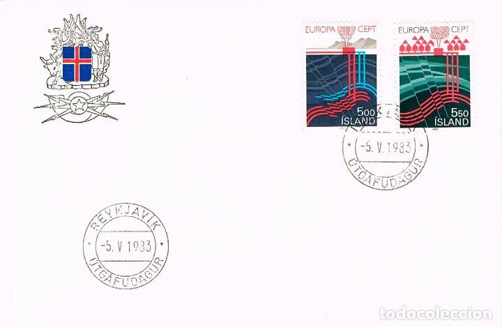 ISLANDIA IVERT Nº 551/2, DESARROLLO DE LA ENERGIA GEOTERMICA, PRIMER DIA DE 5-5-1983 (Sellos - Temáticas - Europa Cept)