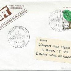 Sellos: 1986. CIRCULADO DE CREMONA A PALMA DE MALLORCA. MATASELLOS TURÍSTICO. NATURALEZA. NATURE.. Lote 125141723