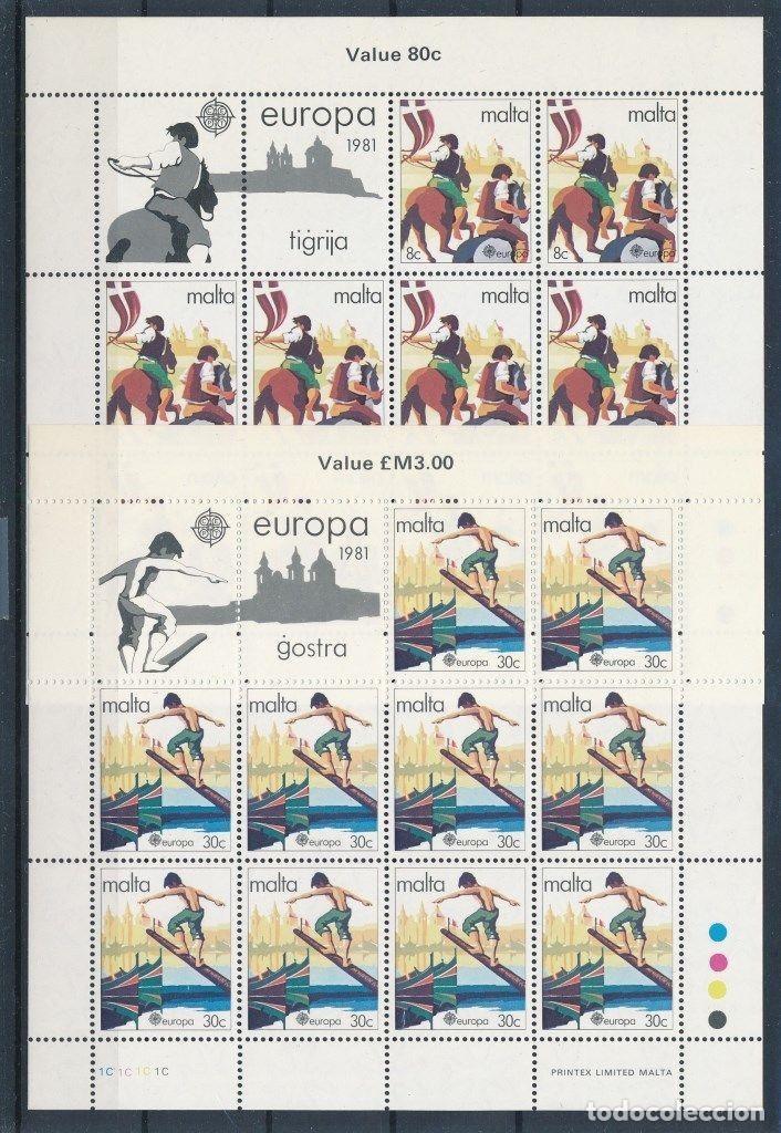 SELLOS MALTA 1981 Y&T 616/7** EUROPA CEPT 2 HOJAS COMPLETAS (Sellos - Temáticas - Europa Cept)