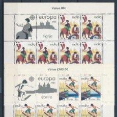 Sellos: SELLOS MALTA 1981 Y&T 616/7** EUROPA CEPT 2 HOJAS COMPLETAS. Lote 134593938