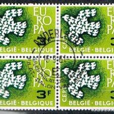 Sellos: BELGICA IVERT Nº 1193, EUROPA 1961, PALOMA FORMADA POR PALOMAS, USADO EN BLOQUE DE 4. Lote 136737842