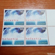 Sellos: SUIZA 2001 EUROPA CEPT (BLOQUE DE 4. Lote 139895265