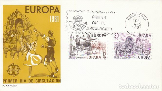 EDIFIL 2615/6, EUROPA, ROMERIA DEL ROCIO Y LA JOTA DE ARAGON, PRIMER DIA 4-5-1981 SFC (Sellos - Temáticas - Europa Cept)