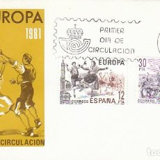 Sellos: EDIFIL 2615/6, EUROPA, ROMERIA DEL ROCIO Y LA JOTA DE ARAGON, PRIMER DIA 4-5-1981 SFC. Lote 142431734