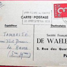 Selos: FRANCIA. SPD 1173 EUROPA-CEPT, SOBRE CARTULINA. 1958. MATASELLO: 8-3-1959 LE HAVRE. Lote 162041334