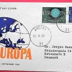 Selos: TURQUÍA. SPD 1567/68 EUROPA-CEPT. RUEDA. 1960. MATASELLO: 19-9.60 ANKARA. Lote 162041950