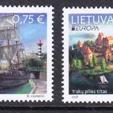 Sellos: LITUANIA 2018 EUROPA 2018 PUENTES. Lote 162480750